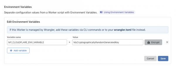 Cloudflare Workers Environment Variables